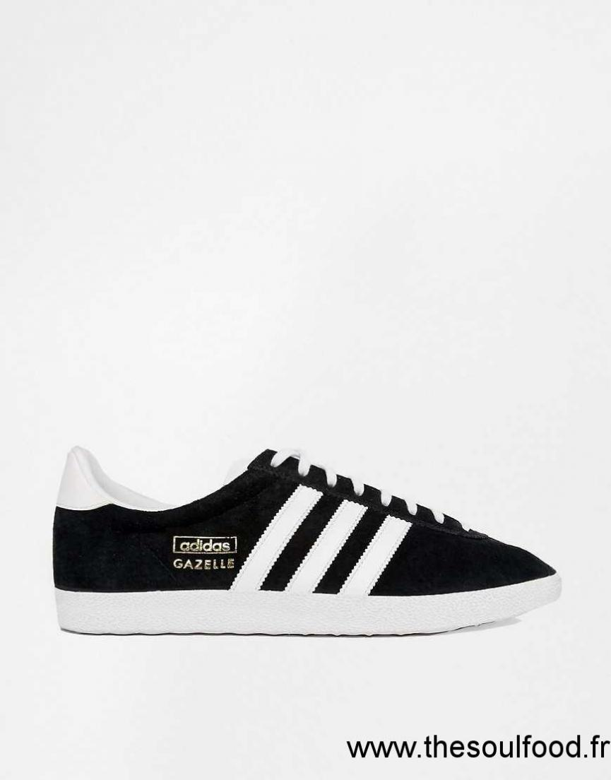 adidas originals gazelle og baskets en cuir noir et blanc femme noir chaussures adidas. Black Bedroom Furniture Sets. Home Design Ideas