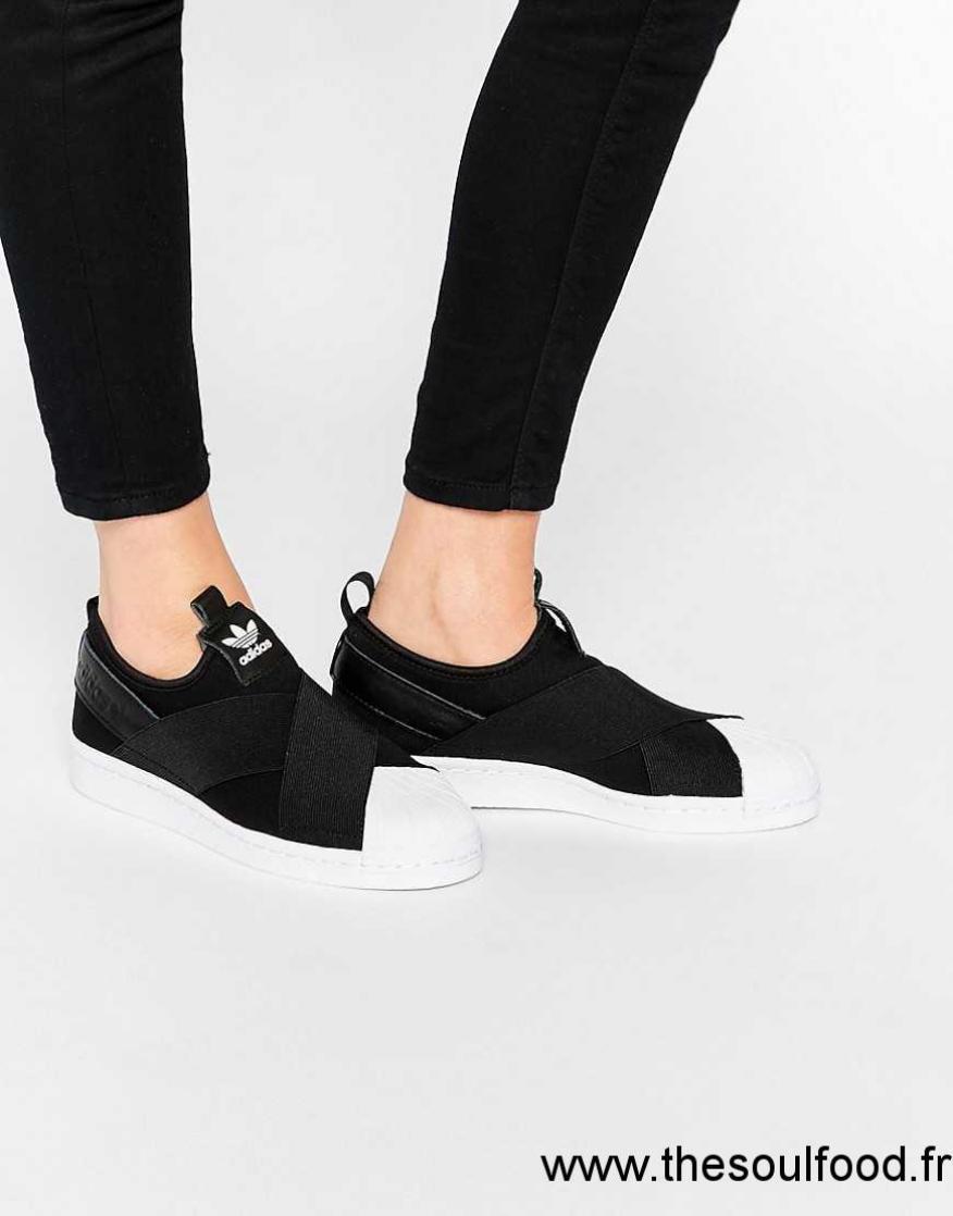 Superstar Adidas Originals Lacets Femme Noir Baskets Sans 53RLj4A