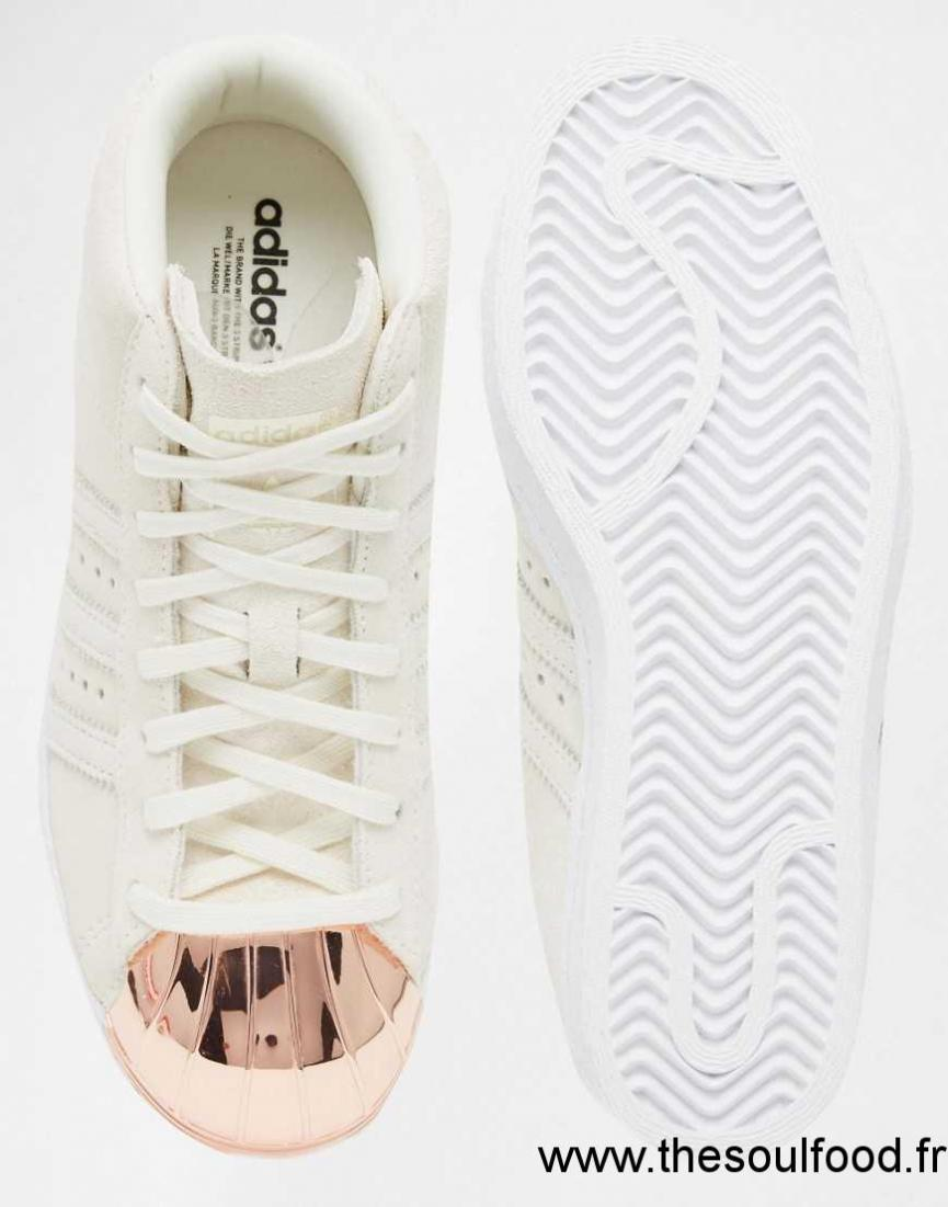 Adidas Originals - Superstar Up - Baskets En Daim À Bout Renforcé En Métal - Blanc Cassé Femme Blanc ...