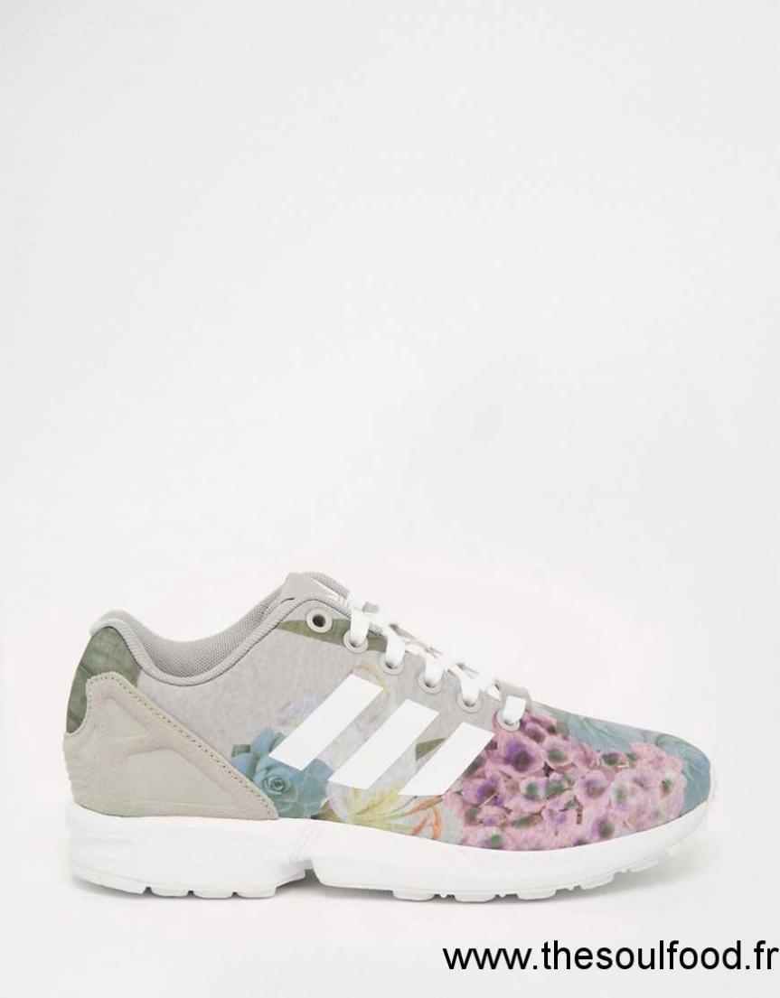 check-out 5ac80 5b460 Adidas Originals - Zx Flux - Baskets À Fleurs Femme Gris Uni ...