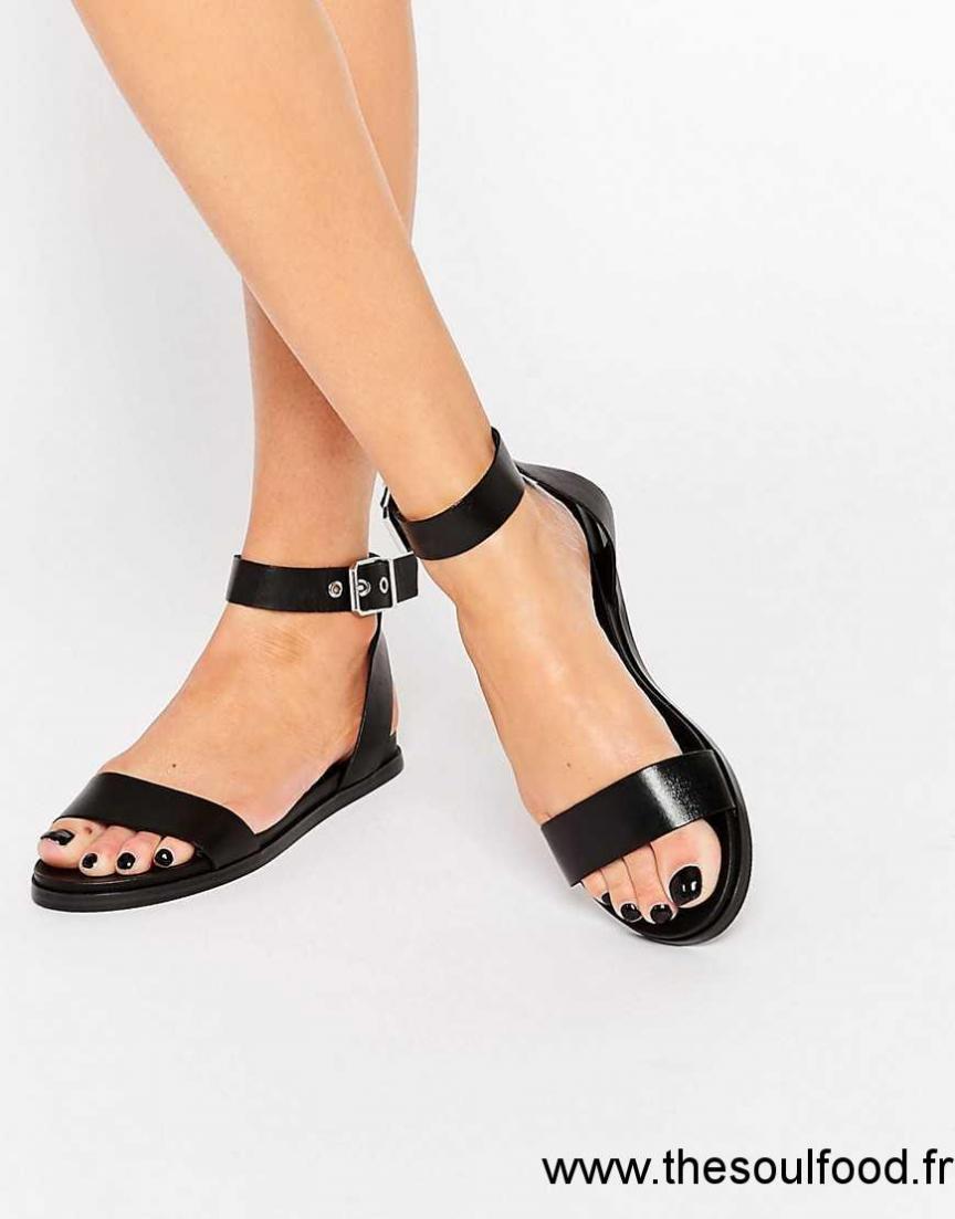 f07ec60a5b3 Aldo - Erina - Sandales À Talons Plats Et Brides Simples - Noir Femme Noir  Chaussures