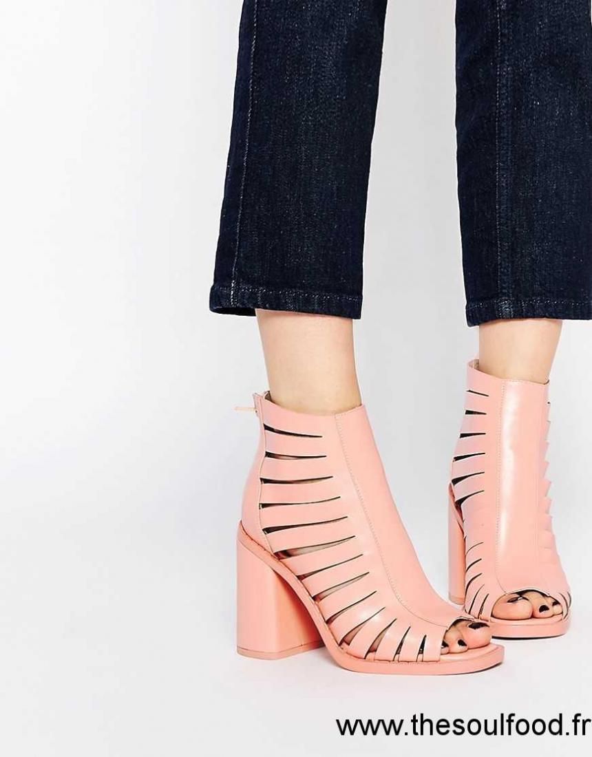 002febd85563 Asos - Finlay - Sandales Plates En Cuir Femme Rose Chaussures