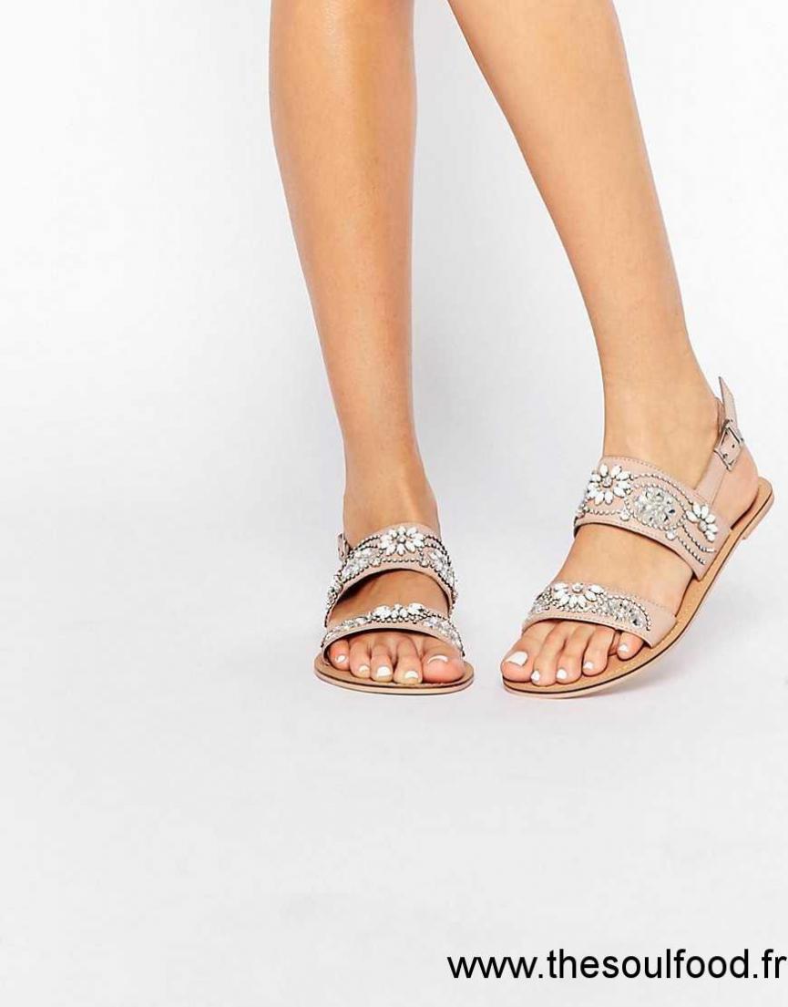 Plates Asos Chaussures Cuir Sandales Fi Nude En Femme Ornementé cRL34SA5jq