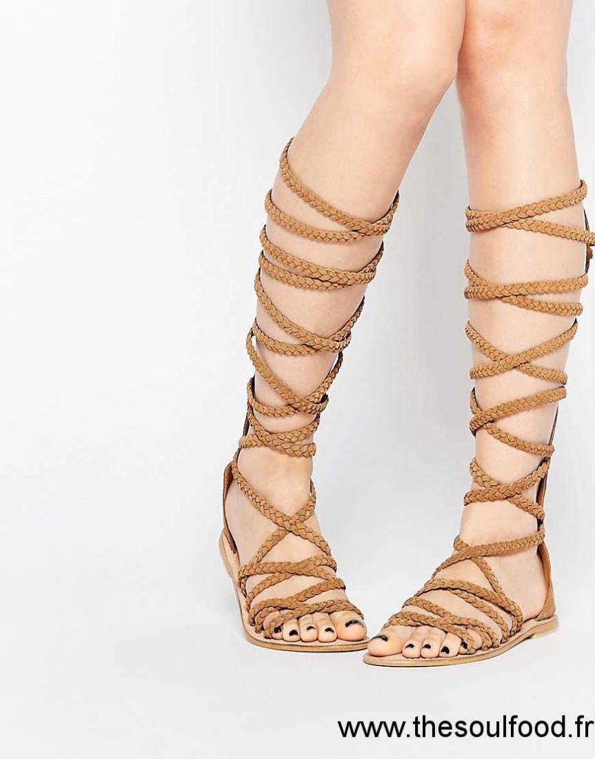 asos foley sandales tress es en daim montant jusqu 39 au genou femme daim beige chaussures. Black Bedroom Furniture Sets. Home Design Ideas