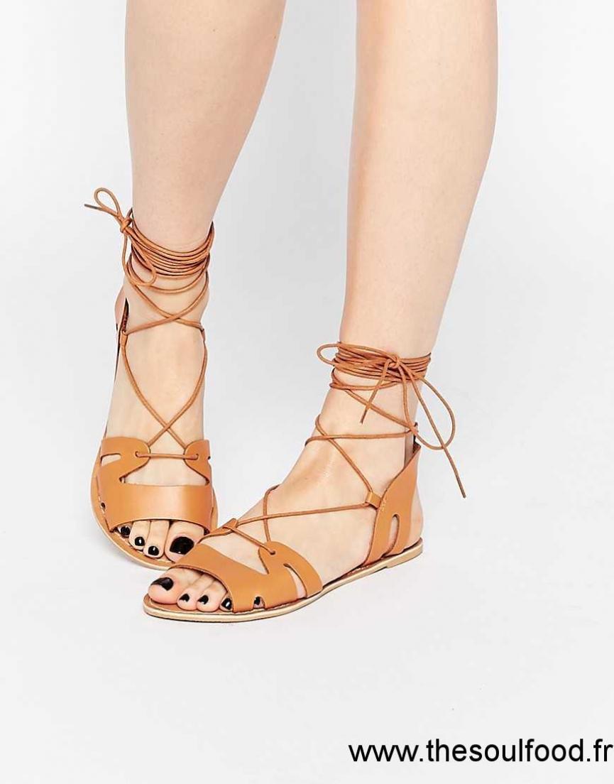 80c97dfedba9a2 Asos - Fuerta - Sandales En Cuir À Lacets Femme Fauve Chaussures | Asos  France FT9000528