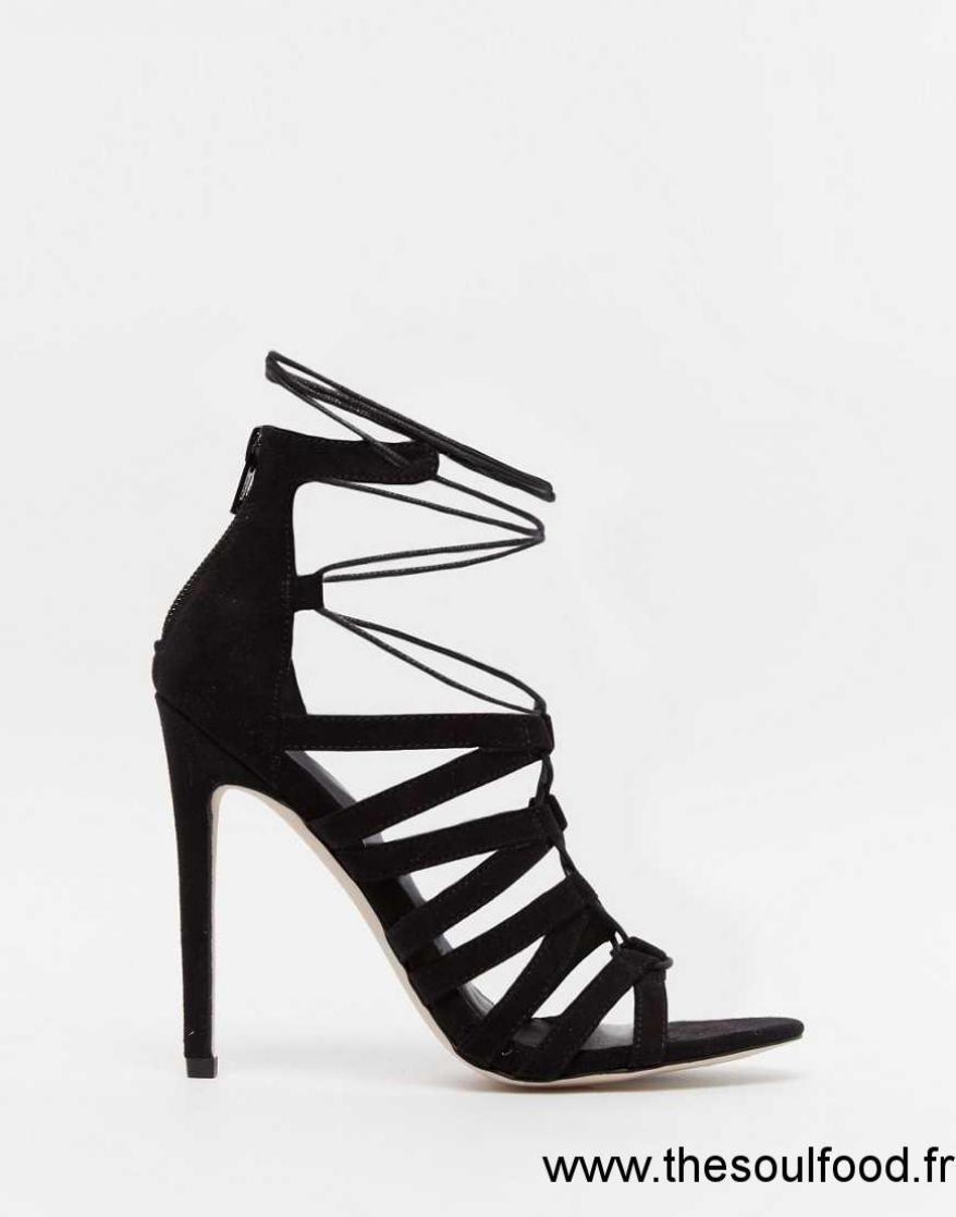 c8d5930fd1c4e1 Noir Femme Sandales Chaussures À Talons Talons Lacets Lacets Asos Et Hallie  0wq5yb