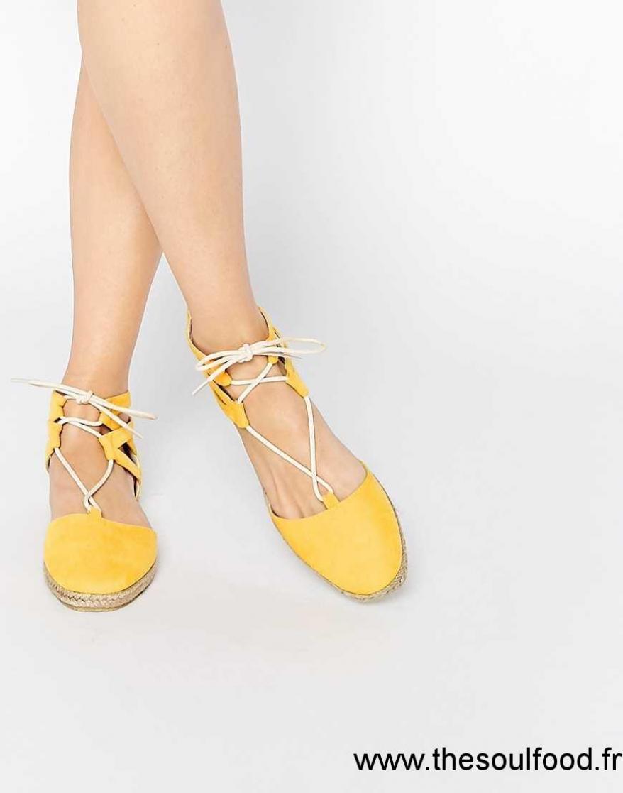 online store 9d6c2 f0225 Asos - Jessica - Espadrilles À Lacets Femme Jaune Chaussures  Asos France  LQ5800814