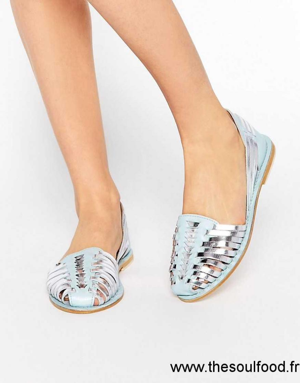 04a8cb076a47af Asos - Jooly - Chaussures D'été En Cuir Femme Bleu/Argenté Chaussures