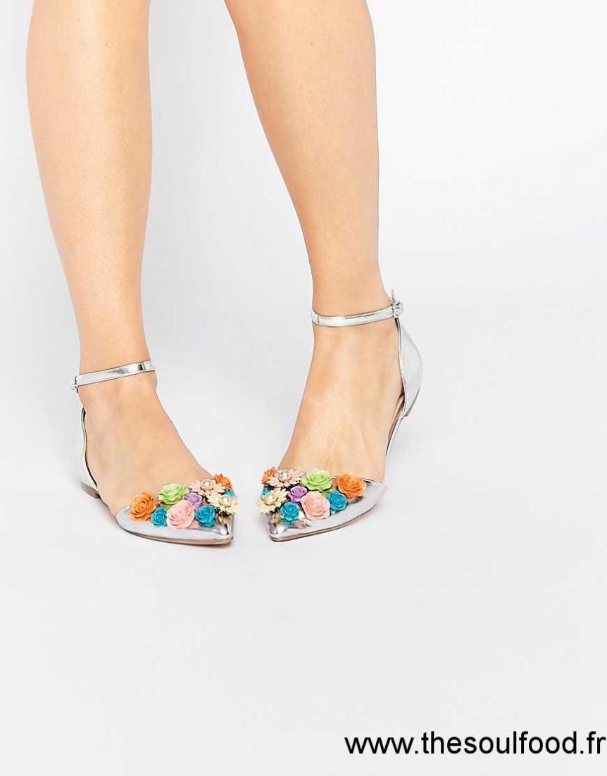 493e3cfd5b3 Asos - Lead The Show - Ballerines Plates Ornementées Femme Argenté  Chaussures