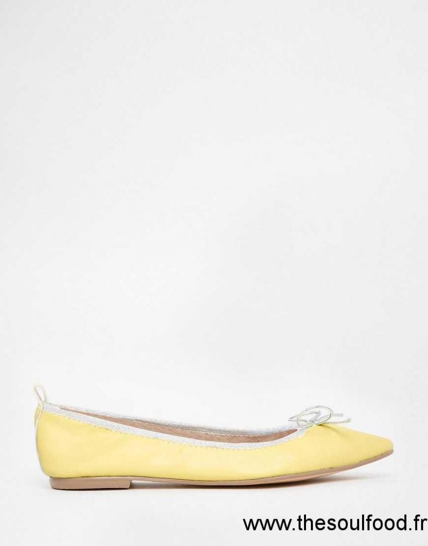 Asos Pointues Lulu Ballerines Femme Chaussures Élastiquées Jaune uJcT3FK1l5