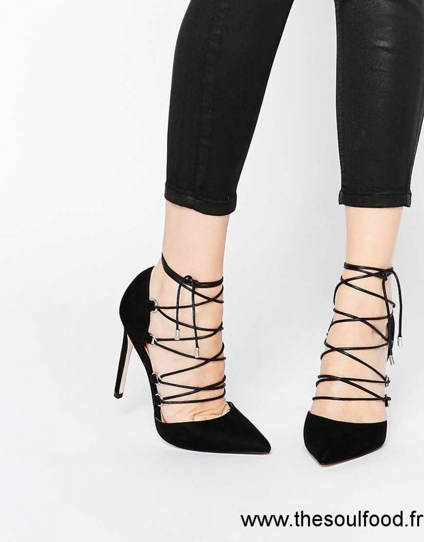 Asos - Prop - Chaussures Pointues À Talons Hauts Et Lacets Femme Noir  Chaussures   Asos France KB0900997 5b386e910faa