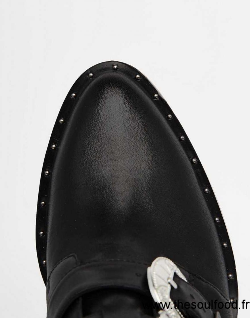 Asos , Rebel , Bottines En Cuir Style Western Femme Cuir Noir Chaussures