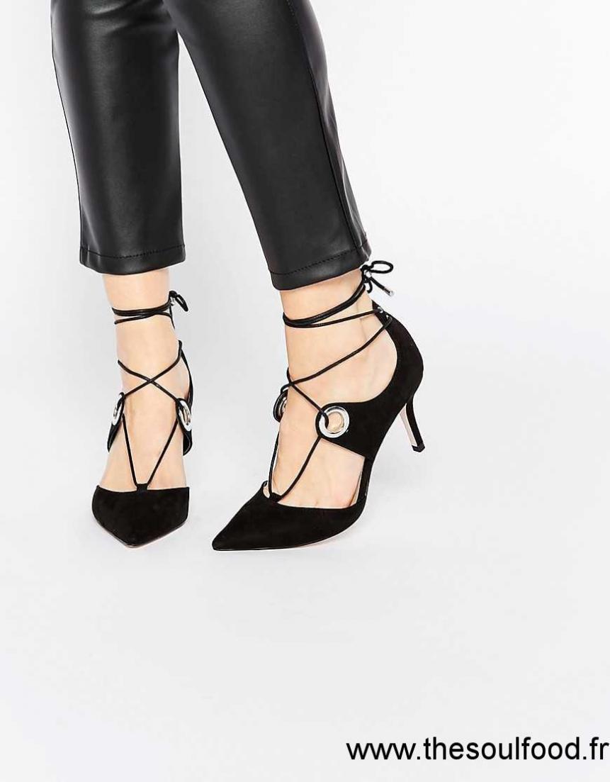 asos silhouette chaussures pointues talons et lacets femme noir chaussures asos france. Black Bedroom Furniture Sets. Home Design Ideas