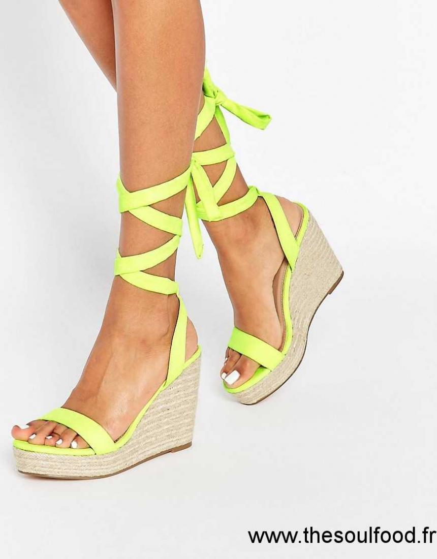 857a71e4cfc1 Asos - Talent - Sandales Compensées À Nouer Sur La Jambe Femme Citron Vert  Chaussures