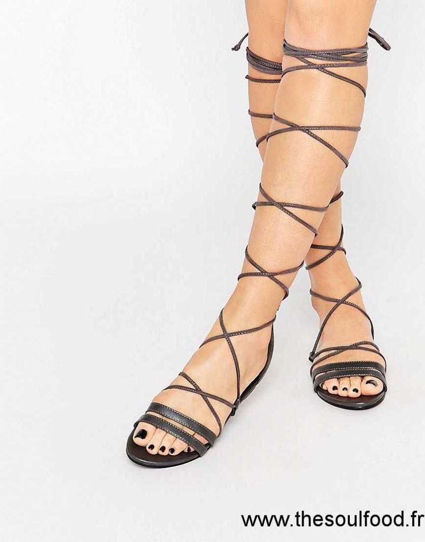 7d6a2a4c082ef Daisy Street - Sandales Plates Style Spartiates À Lacets Femme Noir  Chaussures | Daisy Street France NK19001879
