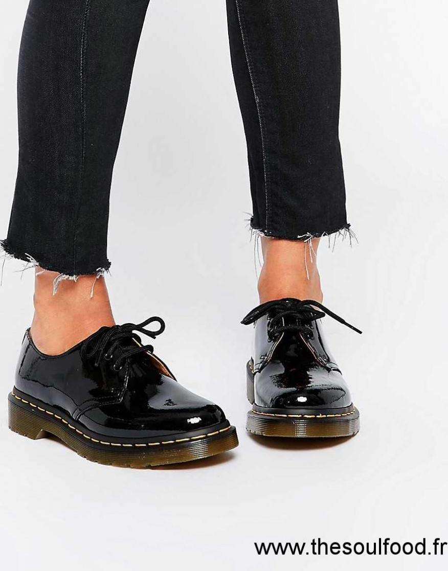 50a7c0dfc76a ... Dr Martens 1461 Chaussures Plates Classiques Noir Verni Femme Noir  Chaussures