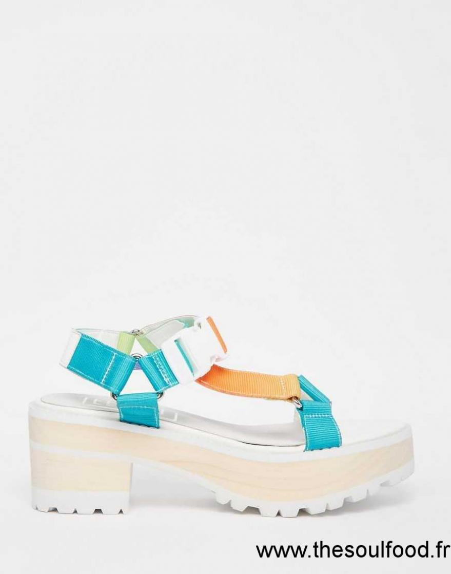 59c2b42a6b47 Eeight - Valentina - Sandales Multicolores À Gros Talons Femme Blanc  Multicolore Chaussures