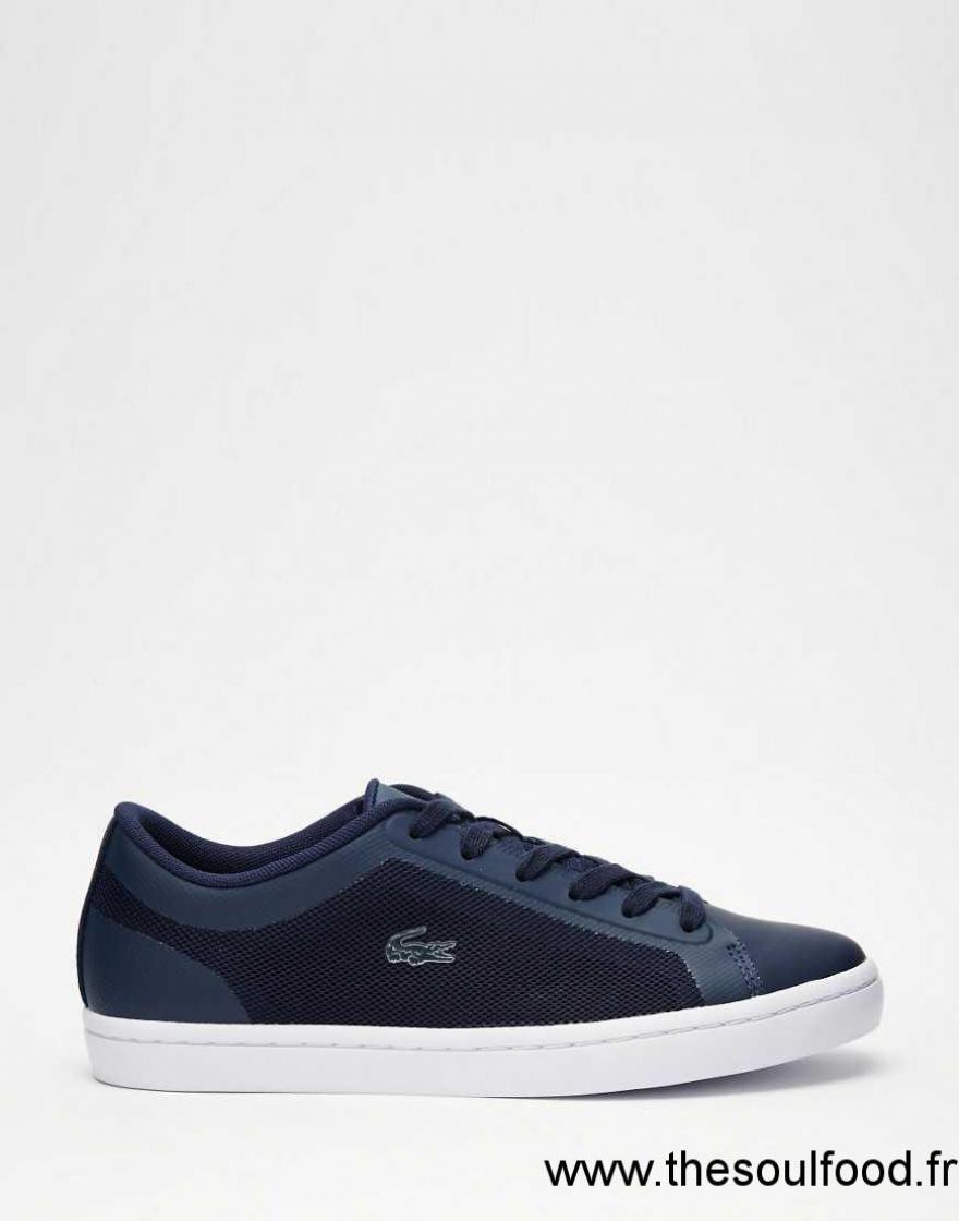 lacoste straightset 4 baskets bleu marine femme bleu marine chaussures lacoste france. Black Bedroom Furniture Sets. Home Design Ideas