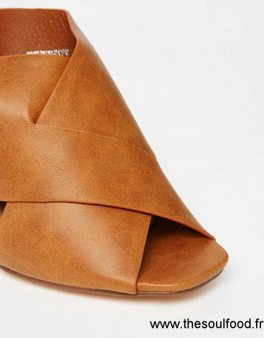 4179764000c Lost Ink - Rita - Sandales À Talons Style Mules À Brides Croisées Sur Le  Devant Femme Fauve Chaussures ...