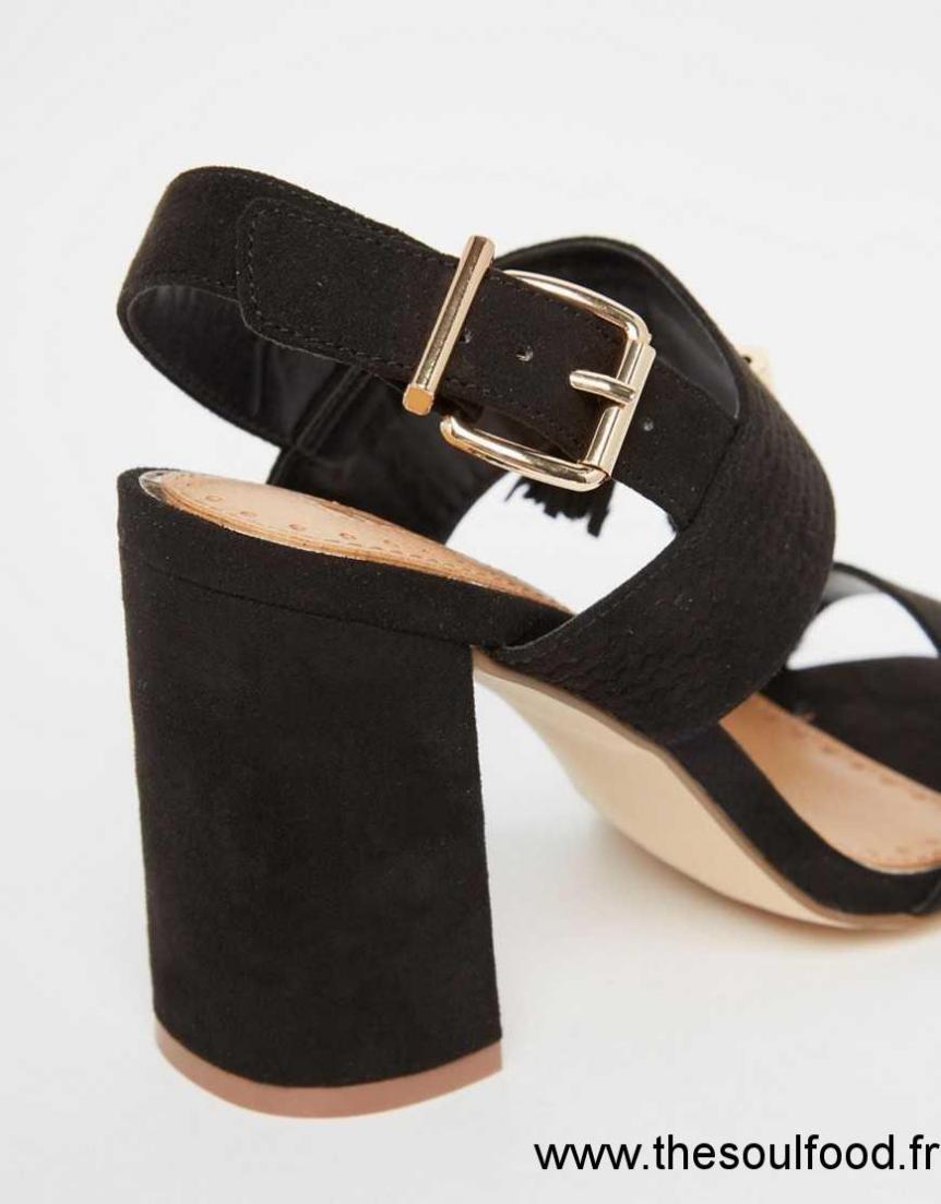 miss kg elaina sandales talon carr et pampille noir femme noir chaussures miss kg. Black Bedroom Furniture Sets. Home Design Ideas