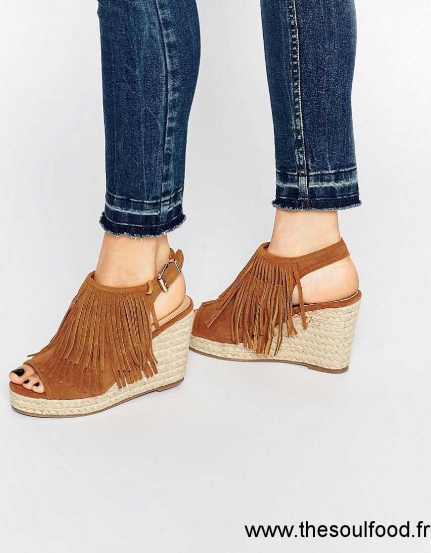 f2117beb5e3b60 Miss Kg - Peyton - Sandales À Talons Compensés Style Espadrilles - Fauve  Femme Fauve Chaussures
