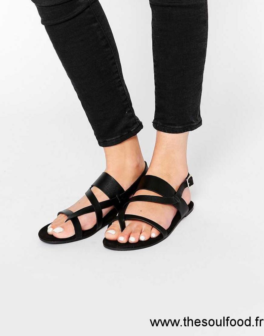 6ea5090b1a2 Monki - Sandales Plates À Brides Effet Holographique Femme Noir Chaussures