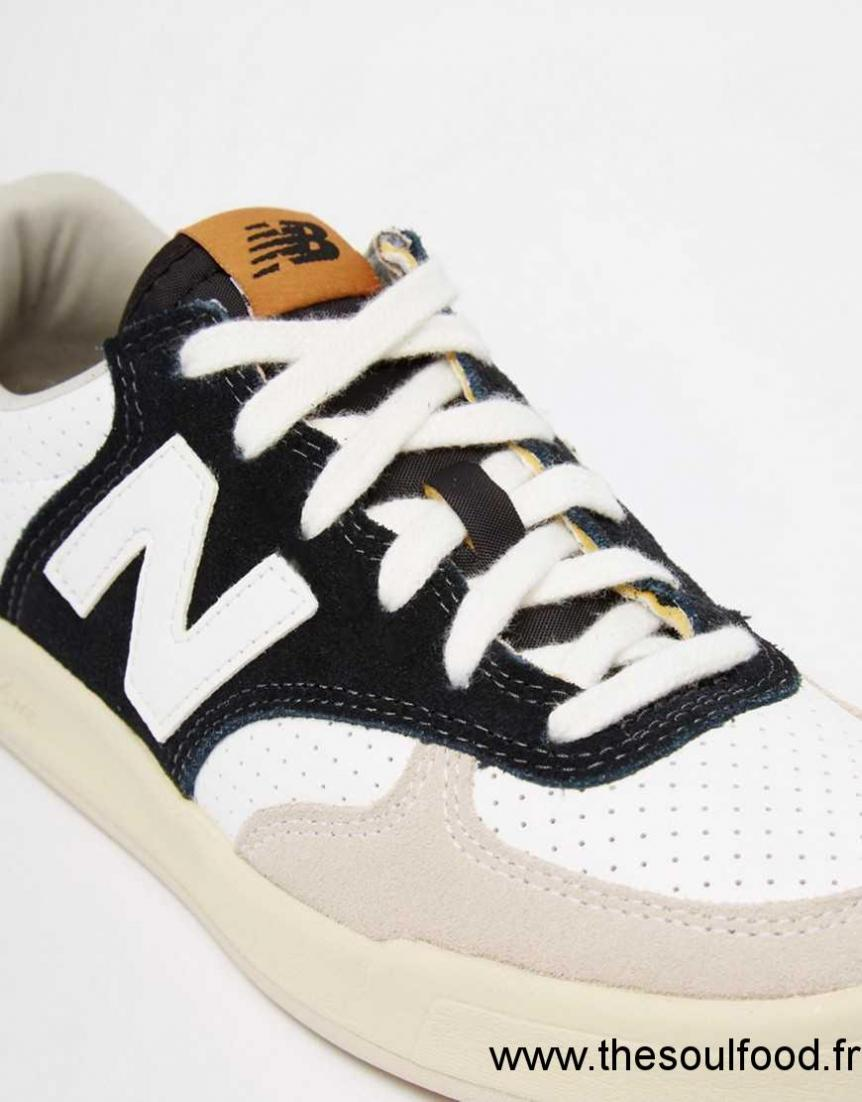 new balance 300 court baskets en cuir perfor noir et blanc femme noir blanc chaussures. Black Bedroom Furniture Sets. Home Design Ideas