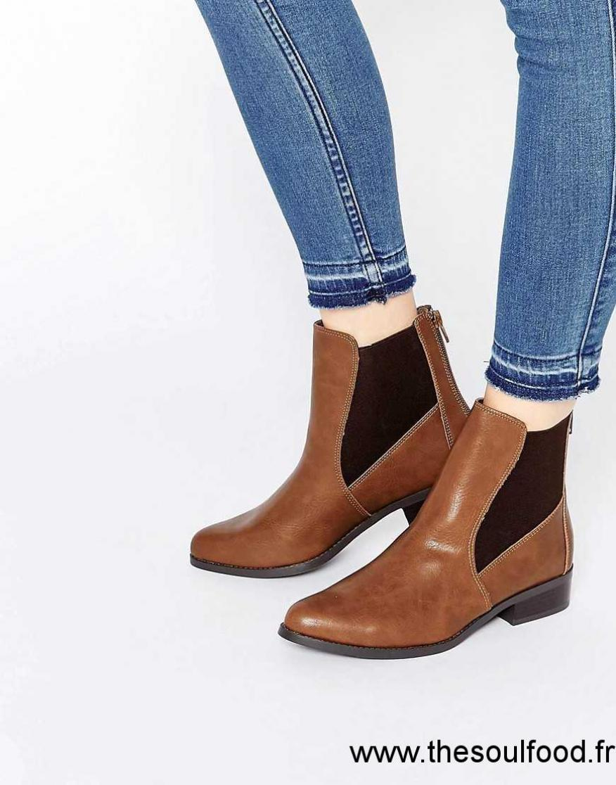 718eb88013fca8 New Look - Bottines Chelsea Plates Femme Fauve Chaussures | New Look France  DJ66003072
