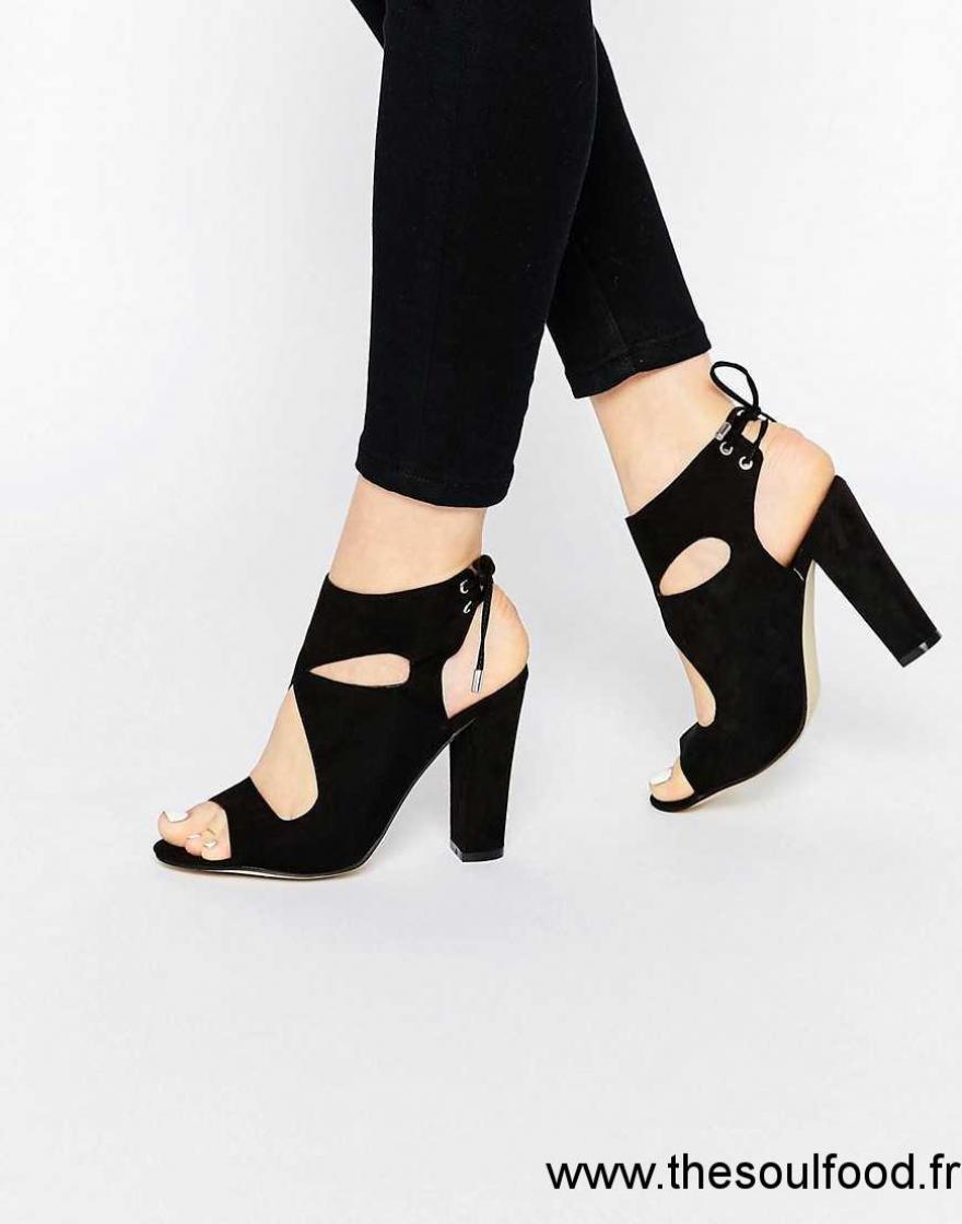 Chaussures à talon carré à bout pointu noires Casual femme kWkhe