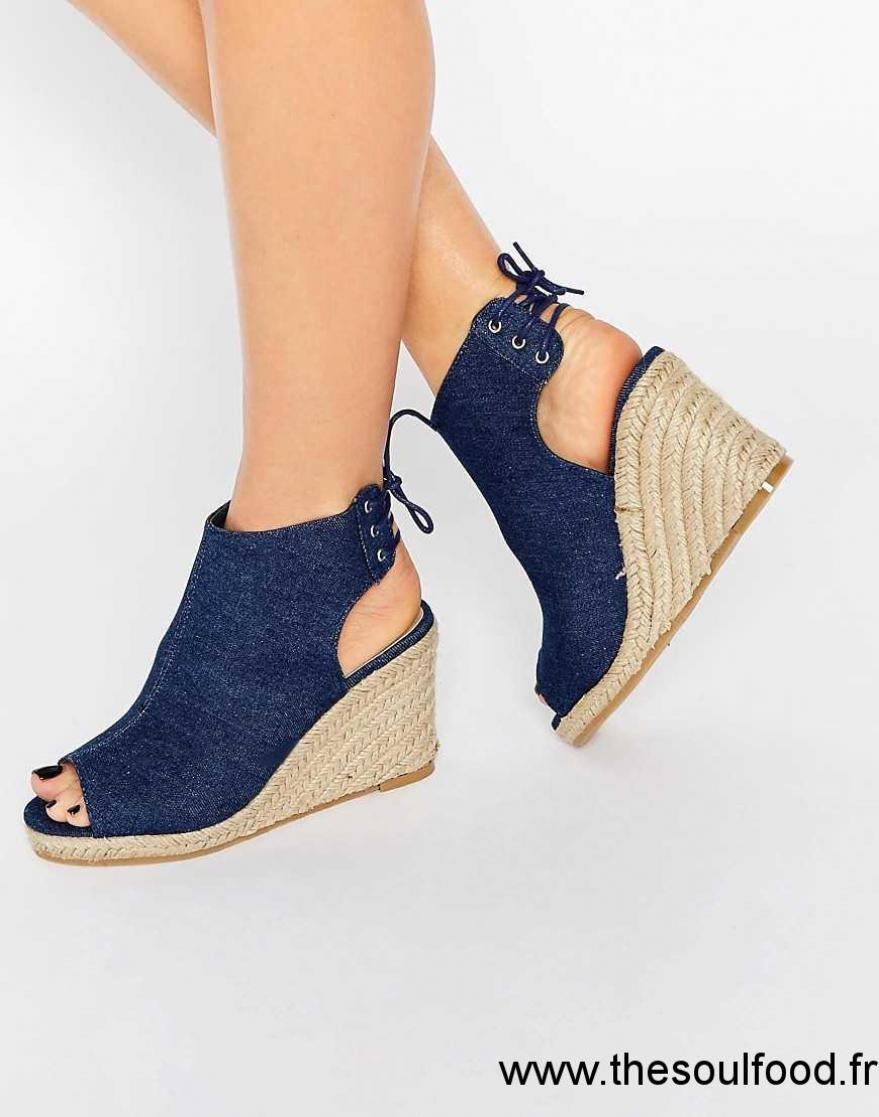 new look chaussures en jean talons compens s femme bleu chaussures new look france kn71002992. Black Bedroom Furniture Sets. Home Design Ideas