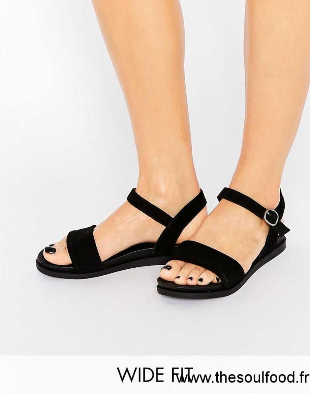new concept 43b8c 05ad3 New Look - Sandales Larges En Daim Femme Noir Chaussures  New Look - Coupe  Large