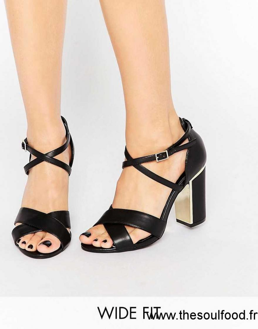 Chaussures Noir Larges À Gros Talons New Femme Sandales Look knwX80PNO