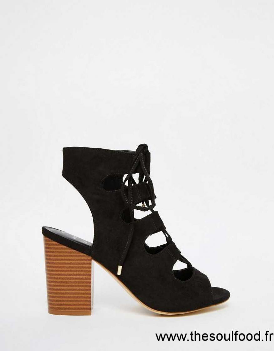 New Look Sandales Larges A Talons Carres Et Lacets Femme Noir