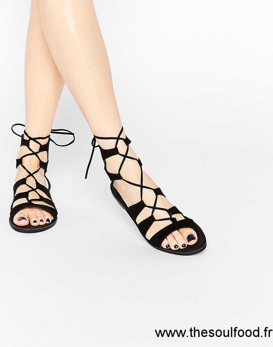 en soldes 48e52 8085e New Look - Sandales Plates À Lacets Femme Noir Chaussures ...
