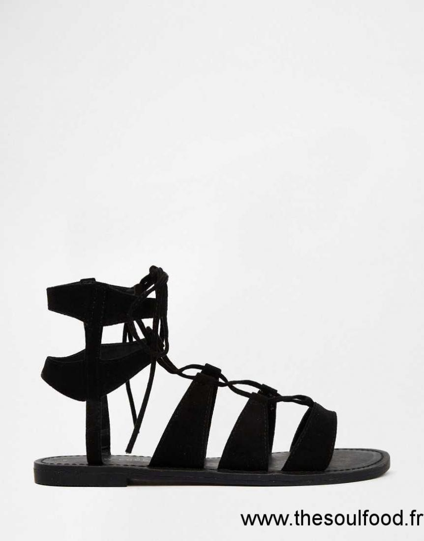 New Sandales Noir À Plates Look Chaussures Lacets Femme 7gmYfIb6yv