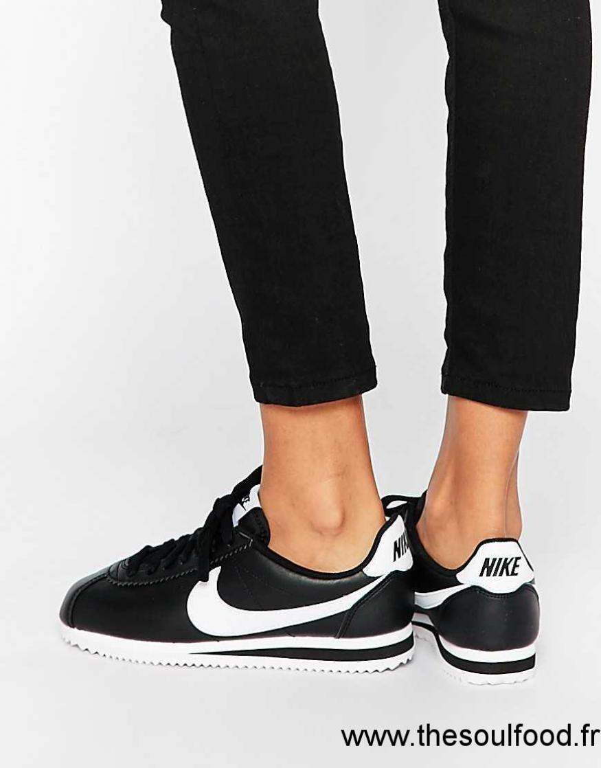 Nike - Cortez - Baskets En Cuir - Noir Femme Noir Chaussures ...