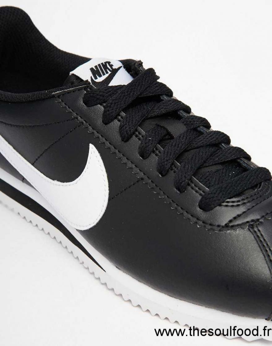 Nike - Cortez - Baskets En Cuir - Noir Femme Noir Chaussures | Nike France PQ17003241
