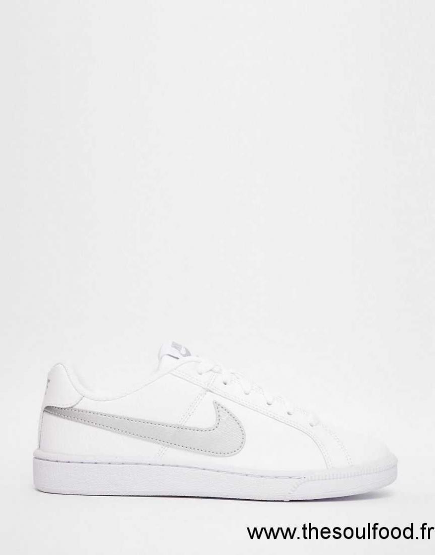 903aa7a7110 Nike - Court Royal - Baskets - Blanc Et Argenté Femme Chaussures ...
