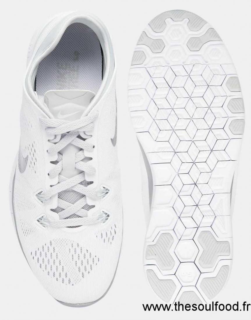 sale retailer 24fe2 ef085 Nike - Free 5.0 Tr Fit - Baskets - Blanc Et Argenté Femme Blanc Et Argenté  Chaussures   Nike France BH10003249