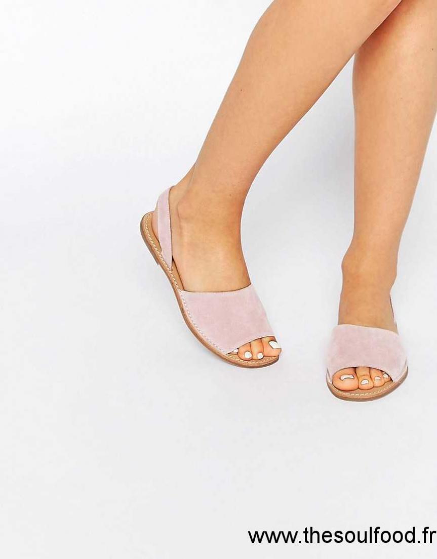 32036cdaadb8 Pieces - Evey - Sandales Plates En Deux Parties En Daim Femme Rose Anglaise  Chaussures