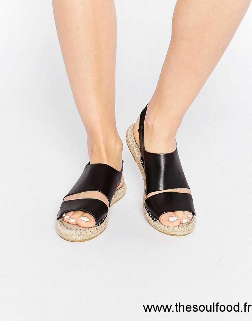 Pieces - Jade - Espadrilles Plates En Cuir - Noir Femme Noir Chaussures    Pieces France f2cec3c4d13