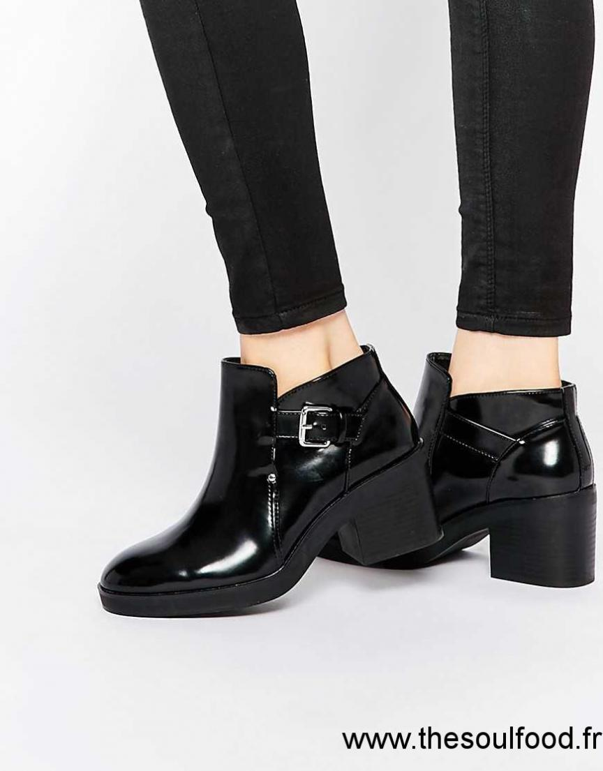 En Cuir Femme Bottines Noir Pull Découpées amp;bear Chaussures Verni 1KuJc5Tl3F