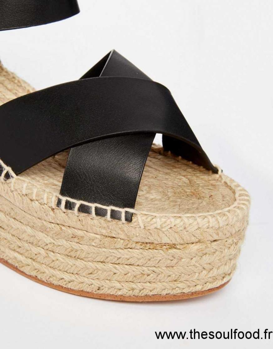 Pull Femme amp;bear Sandales Compensées En Jute Noir Chaussures y8nwOmvN0
