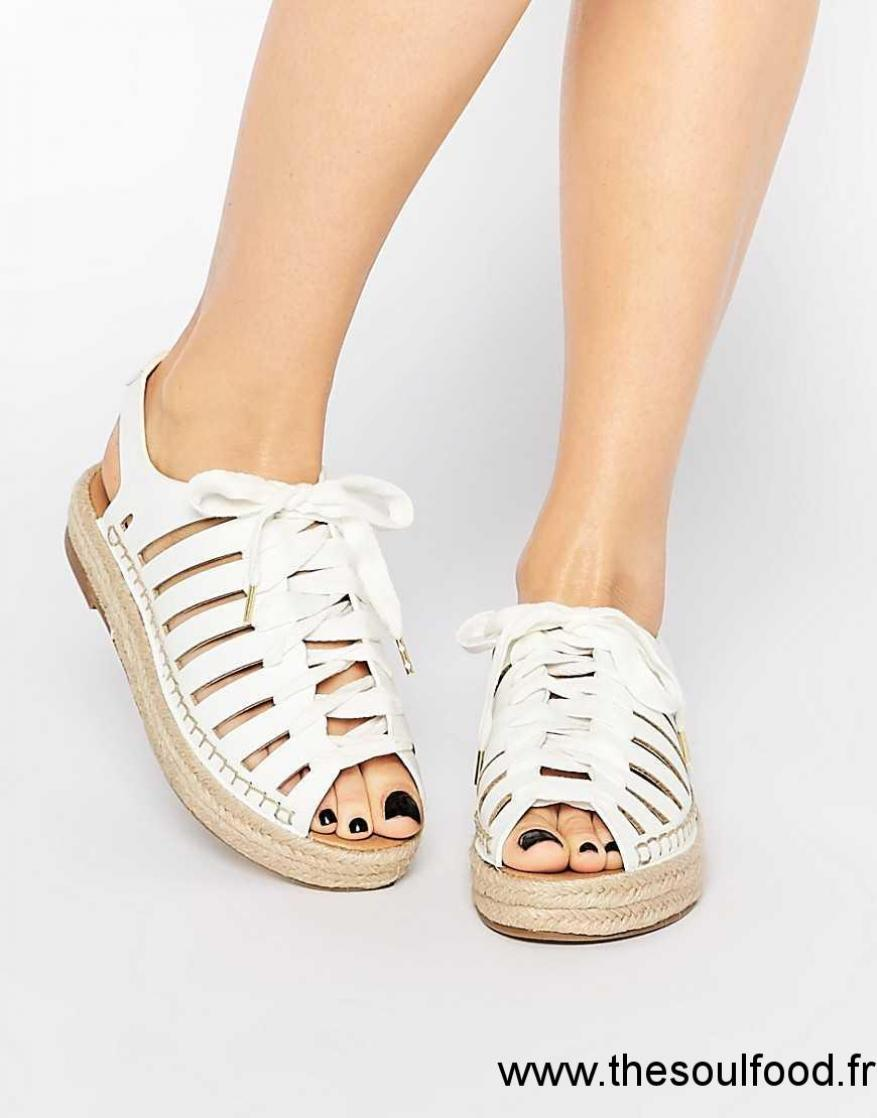 pretty nice dcd20 231b8 River Island - Sandales À Lacets Style Espadrilles Femme Chaussures   River  Island France UV13003837