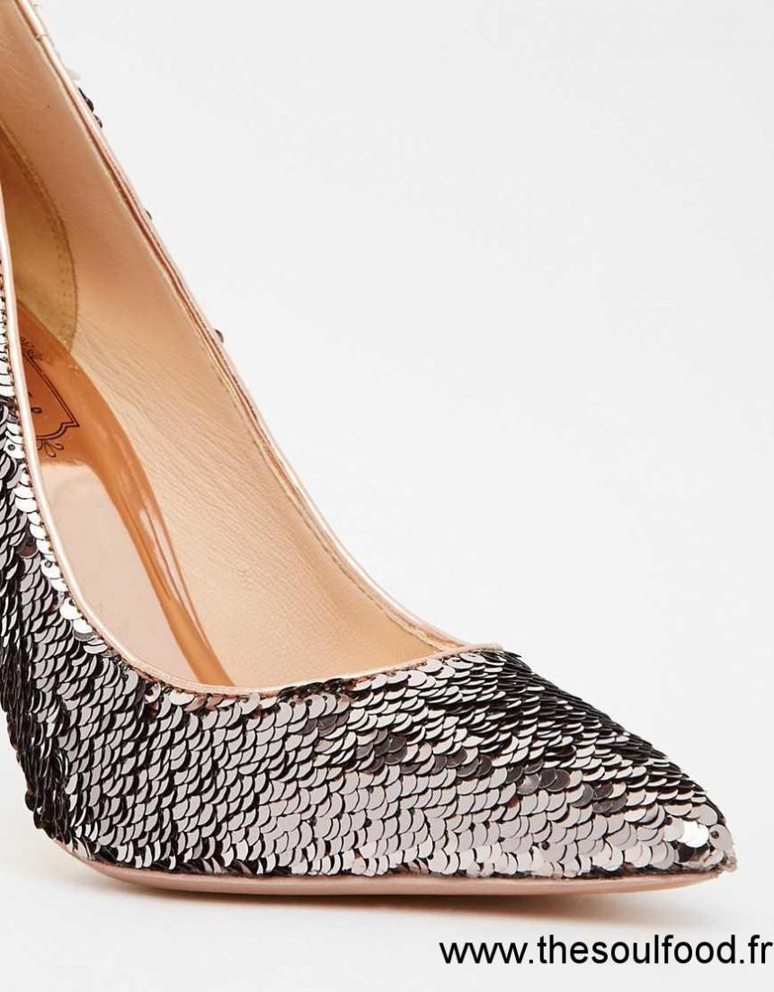 6c5dfbdf511 Ted Baker - Savenniers - Escarpins Métallisés En Cuir Et Sequins Femme  Effet Miroir Métallisé Chaussures