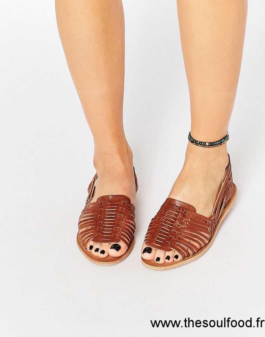Warehouse Femme Huarache Chaussures Tressées Sandales Fauve LAR435jq