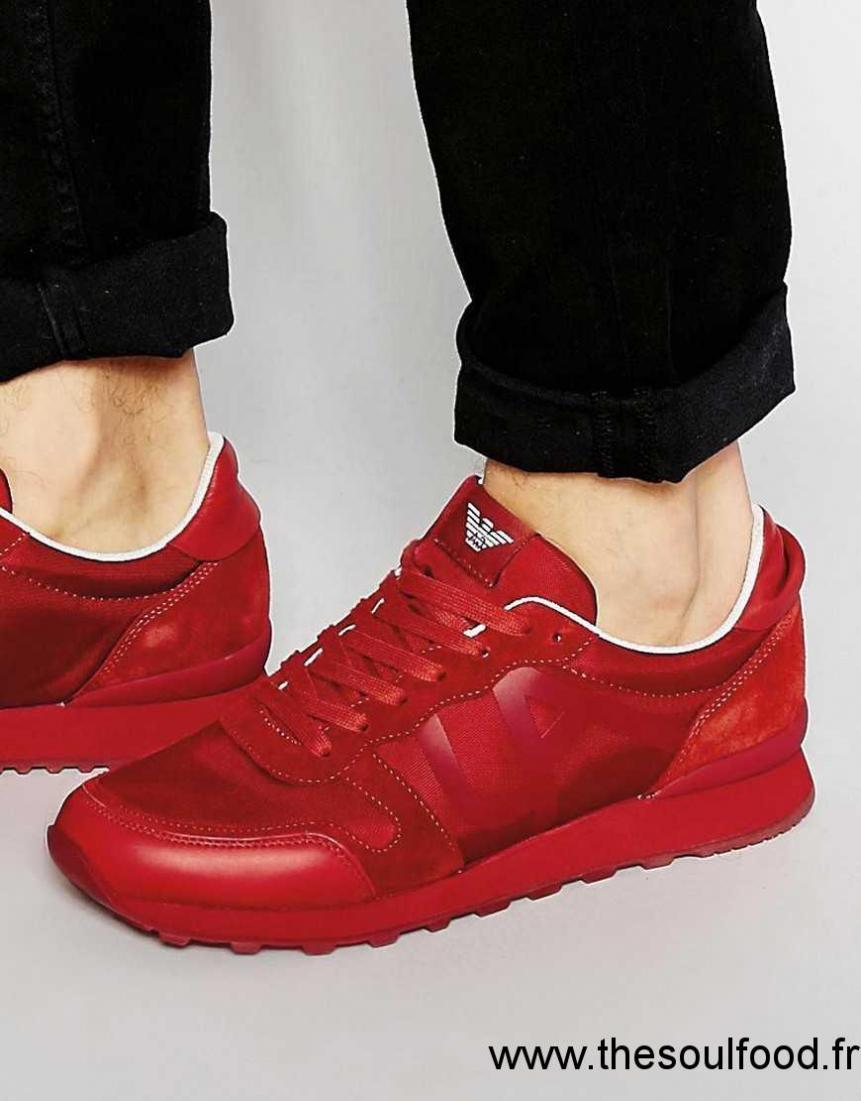 080f85e1711f ... Armani Jeans Baskets De Course Avec Logo Homme Rouge Chaussures