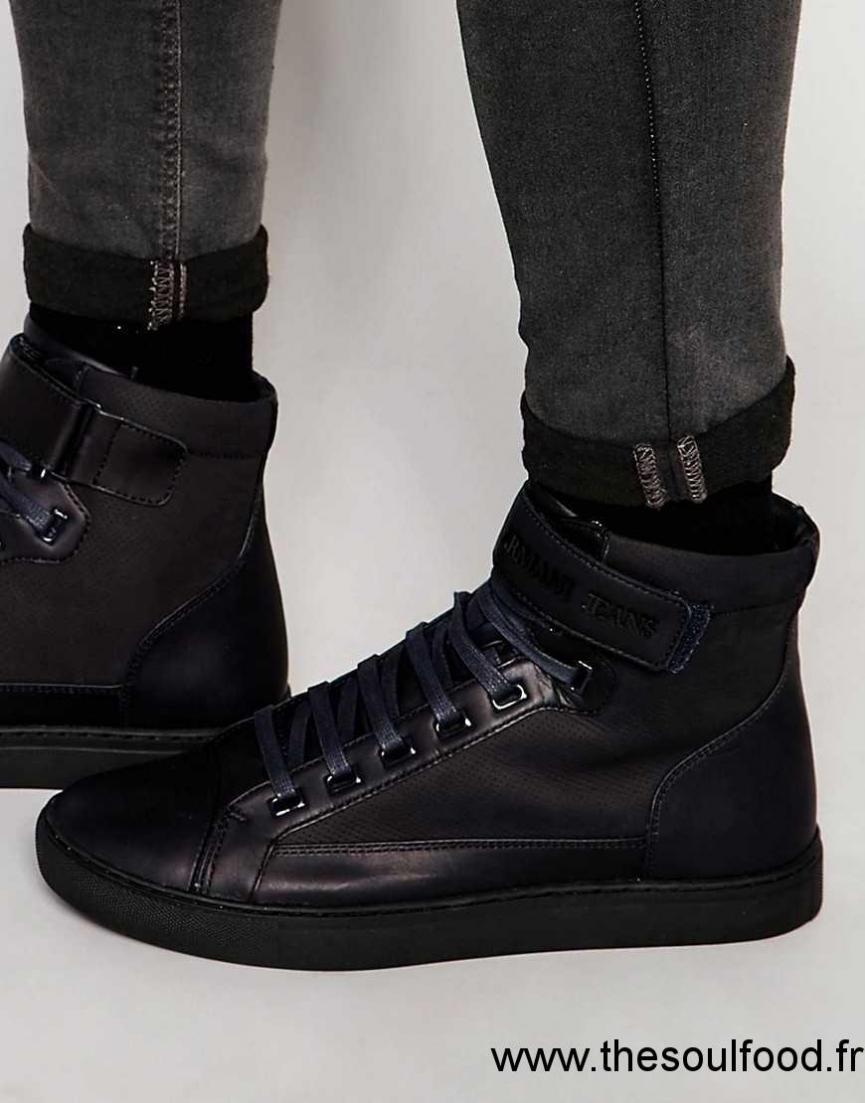 armani jeans baskets montantes homme bleu chaussures armani jeans france hj5100327. Black Bedroom Furniture Sets. Home Design Ideas