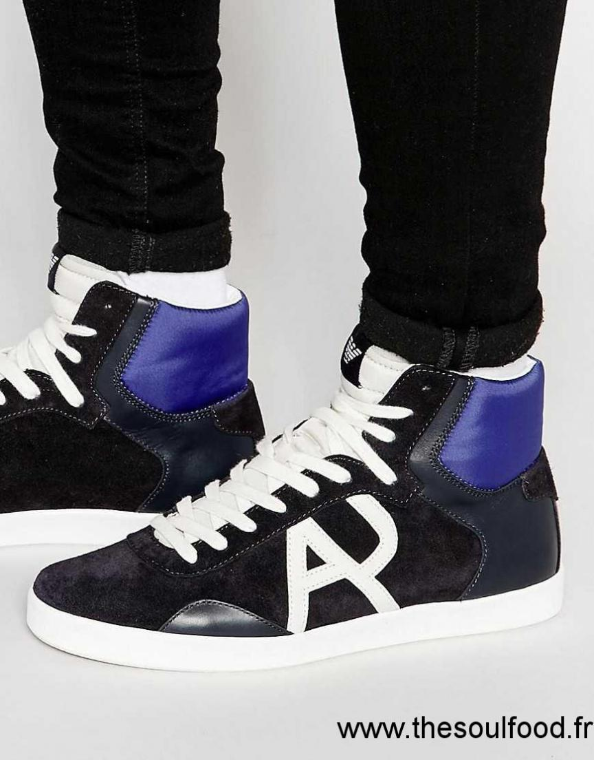 f59858832a0a4 Baskets Jeans Bleu Armani Chaussures Montantes Logo À Homme FHaP5ZnPx