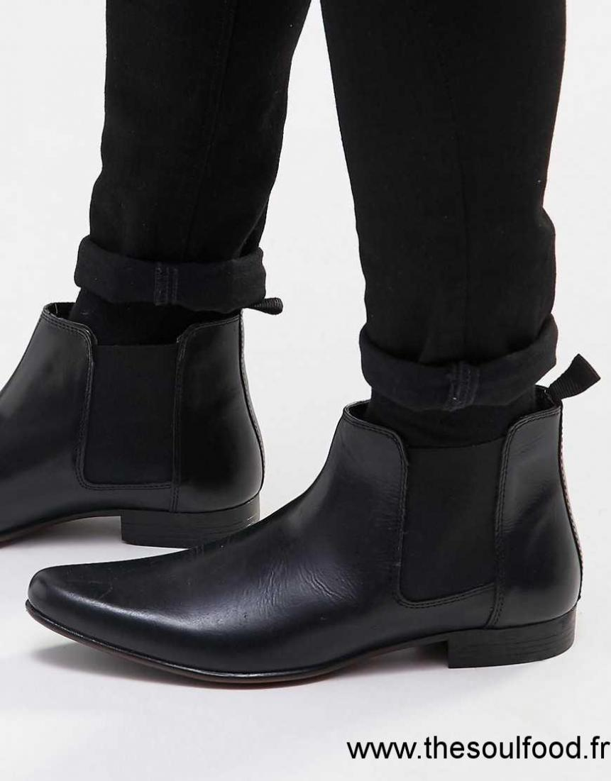 asos bottines chelsea en cuir homme noir chaussures asos france es19001497. Black Bedroom Furniture Sets. Home Design Ideas